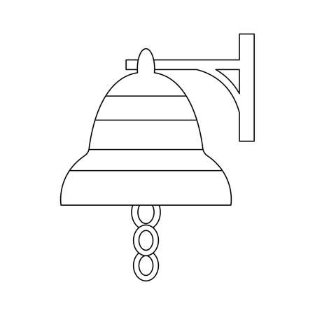 Simple graphic outline ship bell. Isolated on white background. Cartoon style. Nautical symbol. Captain signal. Doodle style. For postcards and coloring book page. For kids. For children drawing