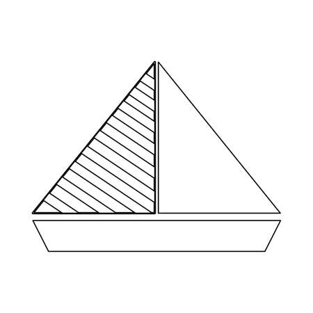 Sail boat outline graphic illustration. Ship and yacht. Black line. Isolated on white background. Sea and ocean. Maritime transport. Traveling and hobby. For coloring book page. For kids books. Ilustração
