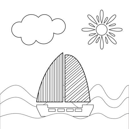 Sail boat outline graphic illustration. Ship and yacht. Isolated on white background. Stripes on sails. Sea and ocean. Maritime transport. Traveling and hobby. For coloring book page. For children