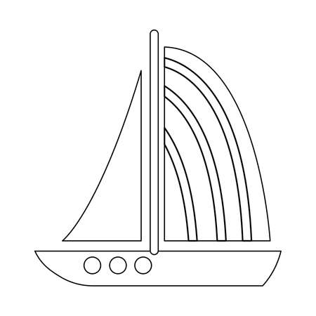 Sail boat outline graphic illustration. Ship and yacht. Black line. Isolated on white background. Sea and ocean. Maritime transport. Traveling and hobby. For coloring book page. For children