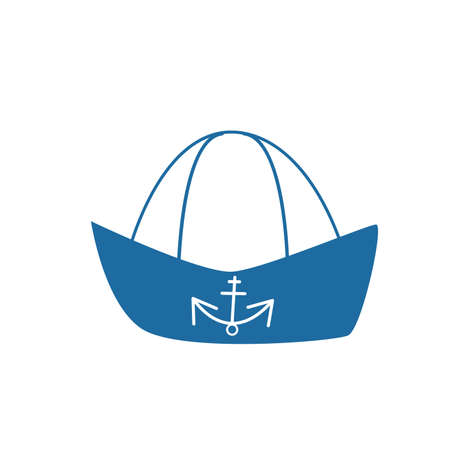 Sailor hat with anchor isolated on white background. Classic blue and white. Simple flat vector illustration. Icon design. Cartoon style. Sea and ocean. Captain uniform. Seaman clothing. Job on ship