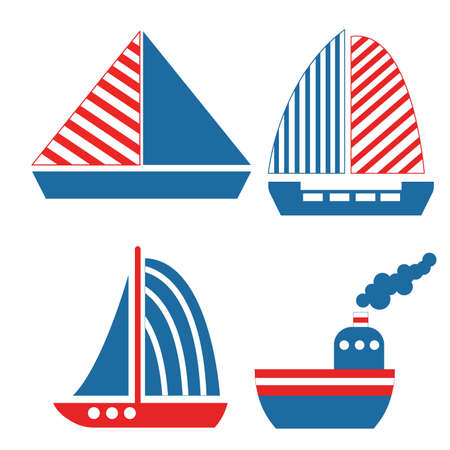 Collection with sailboats, yachts and ships. Simple flat illustration. Cartoon style. Classic blue and red. Graphic elements. Sea and ocean. Marine transport. Nautical traveling. For postcards