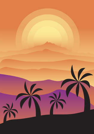 Monochrome foggy sunset landscape with desert and palm trees. Gradients in shades of pink and orange. Vertical vector illustration for postcards, posters, polygraphy, textile, design, interior decor