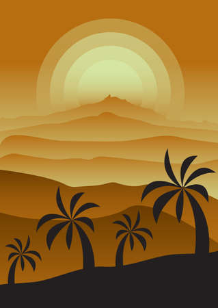 Monochrome foggy sunset landscape with desert and palm trees. Gradients in shades of gold. Vertical vector illustration for postcards, posters, polygraphy, textile, design, interior decor