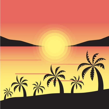 Sunset seascape with palm trees. Vacations on the beach. Gradients in shades of yellow and orange. Square vector illustration for postcards, posters, polygraphy, textile, design, interior décor