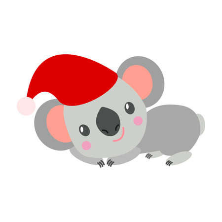 Koala bear baby in red Christmas hat lying and smiling. Cute and funny character. Cartoon style. Simple flat illustration. For children's books and magazines. For post cards and wrapping paper