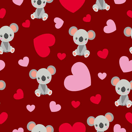 St Valentine's Day. Seamless pattern. Cartoon baby koala sitting and smiling. Funny and cute. Red, pink hearts. Maroon background. Love and romance
