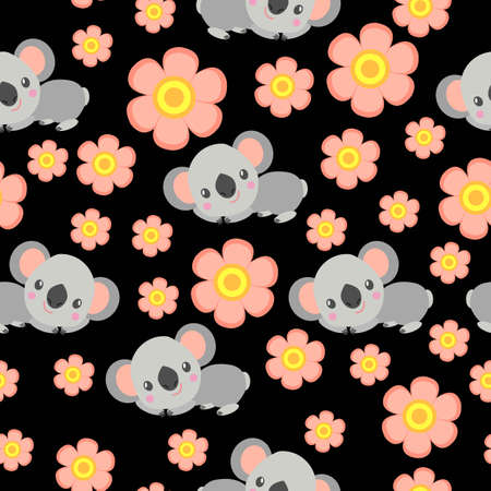 Seamless pattern with koala babies and pink flowers. Black background. Floral ornament. Flat сartoon style. Cute and funny. Spring and summer