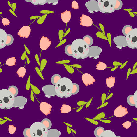 Seamless pattern with koala babies and pink tulips. Purple background. Floral ornament. Flat сartoon style. Cute and funny. Spring and summer