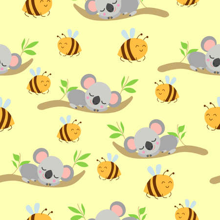 Seamless pattern with koala babies sleeping on eucalyptus branches and yellow bees. Yellow background. Flat design. Cartoon style. Cute and funny.