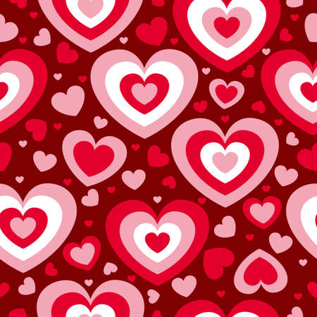 St Valentine's Day. Seamless pattern with red and pink hearts. Maroon background. Decorative ornament. Love and romance. Template for post cards, wallpaper, textile, scrapbooking and wrapping paper Vector Illustration