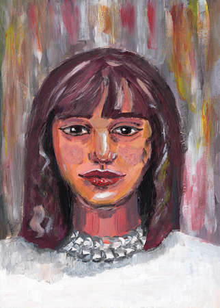 Hand drawn portrait of girl. Aged 18-25. Asian young lady. Brown shoulder-length hair. Pink skin. Acrylic, oil and gouache painting. Textured decorative background.