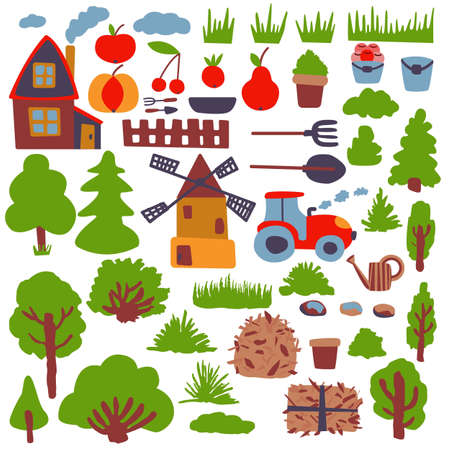 Rural theme. Various agricultural graphic elements. Gardening stuff. Cartoon style.