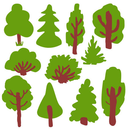 Collection with green deciduous tree, fir tree and bushes. Various shapes. Shrub sculpture. Brown trunk and branches. Graphic elements. Cartoon style. Nature and ecology. Park, forest or garden Ilustrace