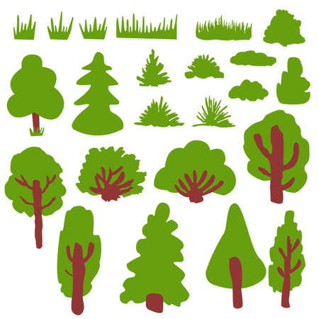 Collection with green deciduous tree, fir trees, bushes and grass. Various shapes. Shrub sculpture. Brown trunk and branches. Graphic elements. Cartoon style. Nature and ecology. Park, forest, garden