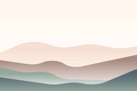 Landscape with Japanese wave. Beige, brown, green gray and white. Mountains and hills. Sandy dunes. Graphic design. Nature and ecology. Horizontal orientation. For social media, post cards and posters Vecteurs