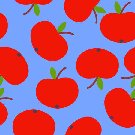 Seamless pattern. Red apple. Green leaf. Blue background. Vegan or vegetarian. Healthy lifestyle. Nature and ecology. Agriculture and gardening. Post cards, wallpaper, textile, wrapping paper, print