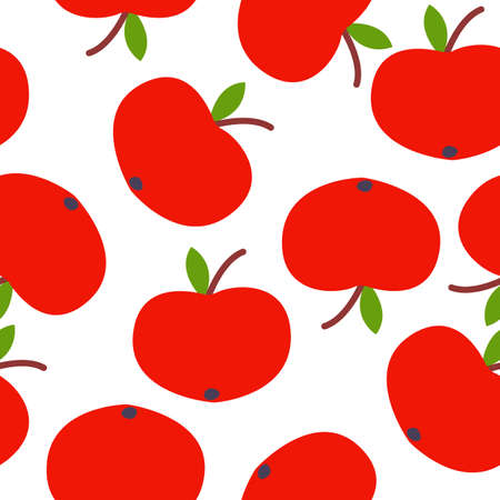 Seamless pattern. Red apple. Green leaf. White background. Vegan or vegetarian. Healthy lifestyle. Nature and ecology. Agriculture and gardening. Post cards, wallpaper, textile, wrapping paper, print