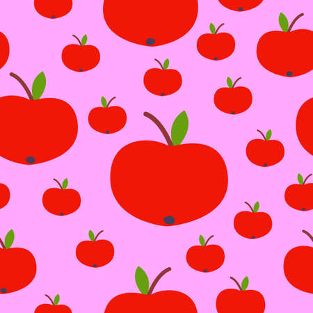 Seamless pattern. Red apple. Green leaf. Pink background. Vegan or vegetarian. Healthy lifestyle. Nature and ecology. Agriculture and gardening. Post cards, wallpaper, textile, wrapping paper, print