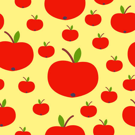 Seamless pattern. Red apple. Green leaf. Yellow background. Vegan or vegetarian. Healthy lifestyle. Nature and ecology. Agriculture and gardening. Post cards, wallpaper, textile, wrapping paper, print