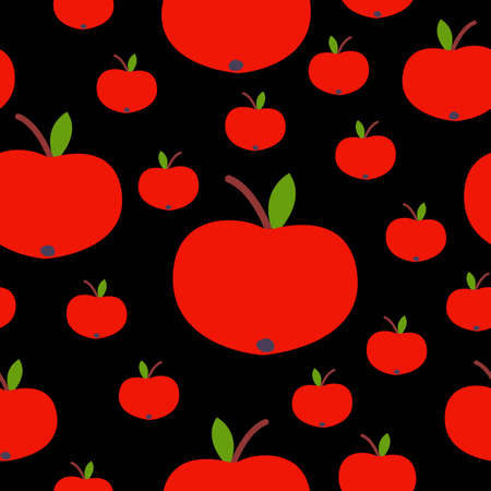 Seamless pattern. Red apple. Green leaf. Black background. Vegan or vegetarian. Healthy lifestyle. Nature and ecology. Agriculture and gardening. Post cards, wallpaper, textile, wrapping paper, print