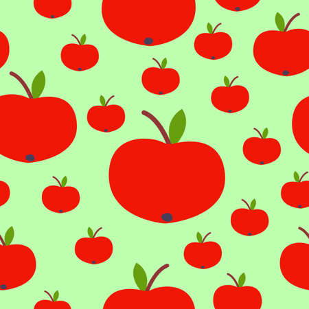 Seamless pattern. Red apple. Green leaf. Green background. Vegan or vegetarian. Healthy lifestyle. Nature and ecology. Agriculture and gardening. Post cards, wallpaper, textile, wrapping paper, print