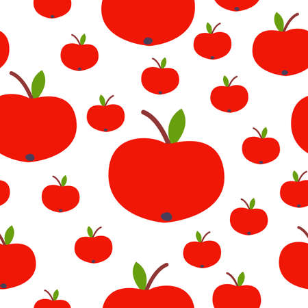 Seamless pattern. Red apple. Green leaf. White background. Vegan or vegetarian. Healthy lifestyle. Nature and ecology. Agriculture and gardening.