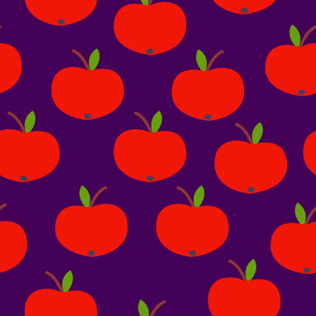 Seamless pattern. Red apple. Green leaf. Violet background. Vegan or vegetarian. Healthy lifestyle. Nature and ecology. Agriculture and gardening.