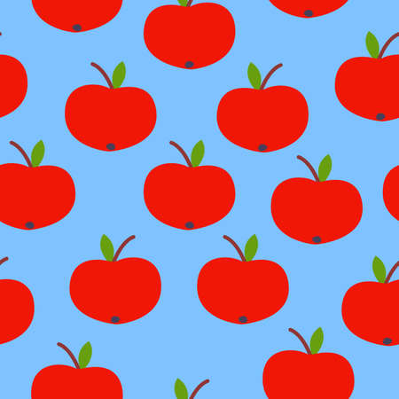 Seamless pattern. Red apple. Green leaf. Blue background. Vegan or vegetarian. Healthy lifestyle. Nature and ecology. Agriculture and gardening.