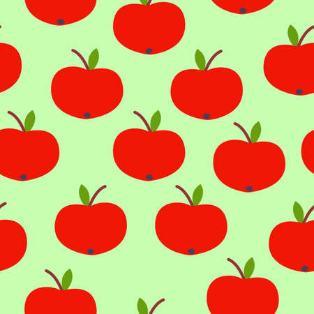 Seamless pattern. Red apple. Green leaf. Green background. Vegan or vegetarian. Healthy lifestyle. Nature and ecology. Agriculture and gardening.