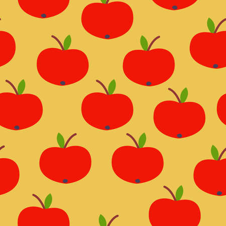 Seamless pattern. Red apple. Green leaf. Yellow background. Vegan or vegetarian. Healthy lifestyle. Nature and ecology. Agriculture and gardening.