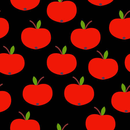 Seamless pattern. Red apple. Green leaf. Black background. Vegan or vegetarian. Healthy lifestyle. Nature and ecology. Agriculture and gardening.
