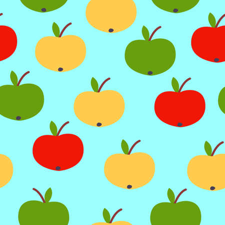 Seamless pattern. Red, green, yellow apples. Blue background. Vegan or vegetarian. Healthy lifestyle. Nature and ecology. Agriculture and gardening.