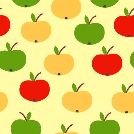 Seamless pattern. Red, green, yellow apples. Yellow background. Vegan or vegetarian. Healthy lifestyle. Nature and ecology. Agriculture and gardening.