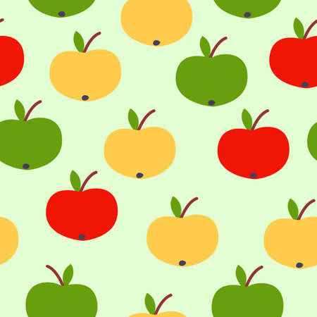 Seamless pattern. Red, green, yellow apples. Green background. Vegan or vegetarian. Healthy lifestyle. Nature and ecology. Agriculture and gardening.
