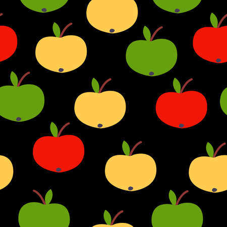 Seamless pattern. Red, green, yellow apples. Black background. Vegan or vegetarian. Healthy lifestyle. Nature and ecology. Agriculture and gardening.
