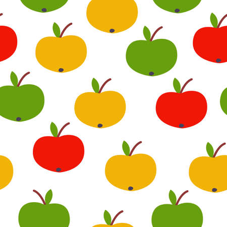 Seamless pattern. Red, green, yellow apples. White background. Vegan or vegetarian. Healthy lifestyle. Nature and ecology. Agriculture and gardening.