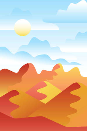 Landscape with waves. Blue sun set sky. Yellow, orange, pink and red mountains silhouette. Sandy desert dunes. Nature and ecology. Vertical orientation. For social media, post cards and posters