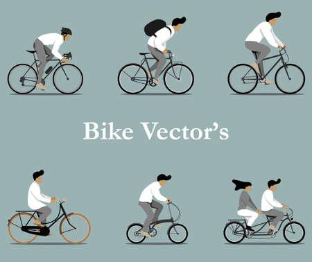 Set of various bicycles vectors in flat design.