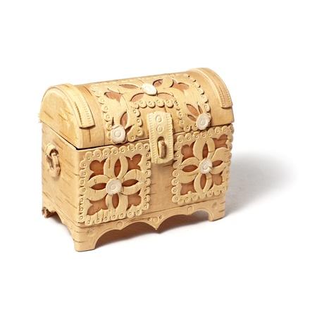 small handmade bark box isolated on white background photo