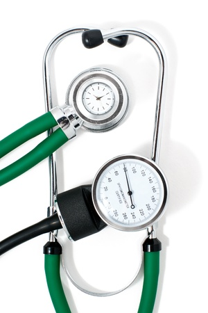modern acoustic stethoscope and sphygmomanometer isolated on white photo
