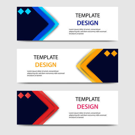 paper cut horizontal geometric business banners in blue, orange, red in white background. Suitable for for web, banner, header, print flyers. Vector design layout