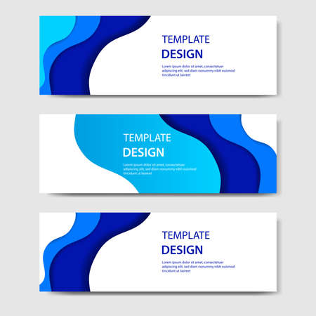 Horizontal banners with 3D abstract waving paper cut style in gradient blue color. Suitable for web, banner, header, print flyer. Vector illustrator