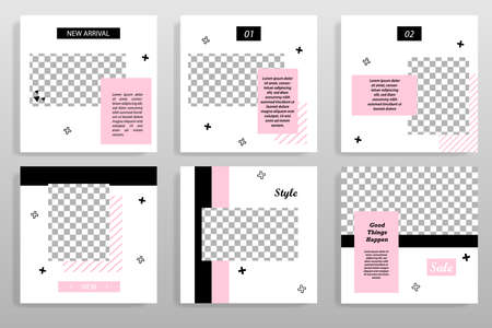 Minimal black pink social media layout template. Square geometric shape banner for social post poster, product replacement catalog