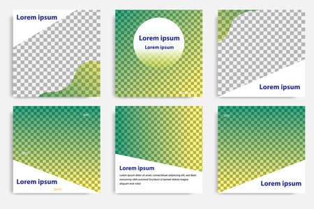 Six set modern wave fluid background template with gradient green, orange, yellow gradation for promotional. For social media post, blog, internet web banner, flyer, poster and brochure. Ilustración de vector