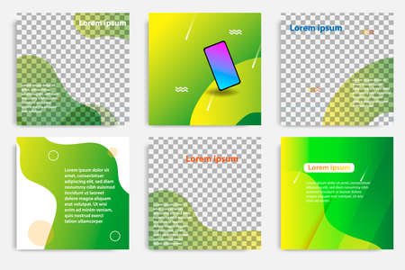 Six set modern wave fluid background template with gradient green, orange, yellow gradation for promotional. For social media post, blog, internet web banner, flyer, poster and brochure.