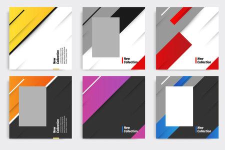 Multipurpose of square banner pack in modern gradient shape background color. Suitable for social media promotion ads, flyer, poster, calendar, product catalog, etc