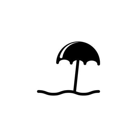 Umbrella beach, enjoying sunbath vector icon in solid style. Vector illustration