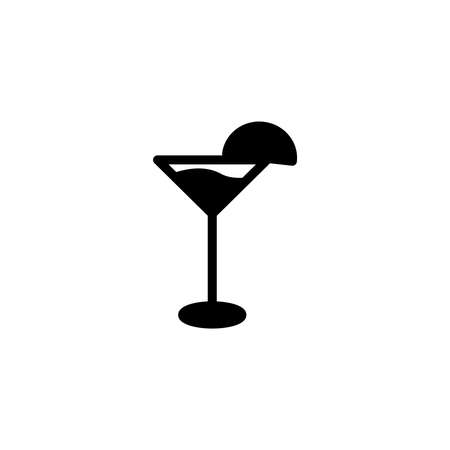 Lime Cocktail vector icon in solid, black flat style. Vector illustration