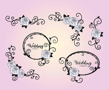 Flower frames with rose and curls. Corner of roses and swirls. Set design elements for holiday greeting card, wedding invitation, banner, monogram, signage, labels, wedding frame. Vector elements